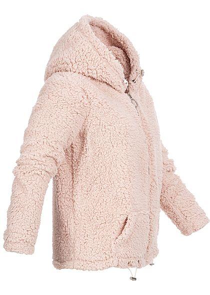 Hailys Damen Teddyfell Zip Hoodie Kapuze 2-Pockets rosa