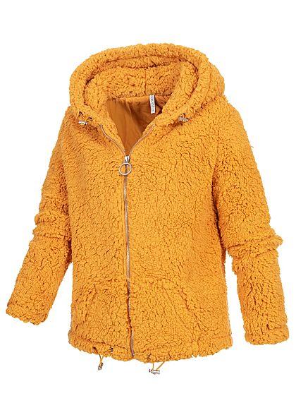 Hailys Damen Teddyfell Zip Hoodie Kapuze 2-Pockets curry gelb