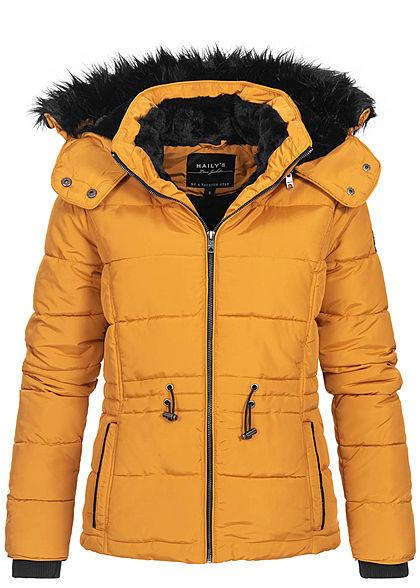 neue Stile Outlet-Boutique Genieße den reduzierten Preis Hailys Damen Winter Steppjacke abnehmb. Kapuze 2-Pockets Stormcuffs curry  gelb