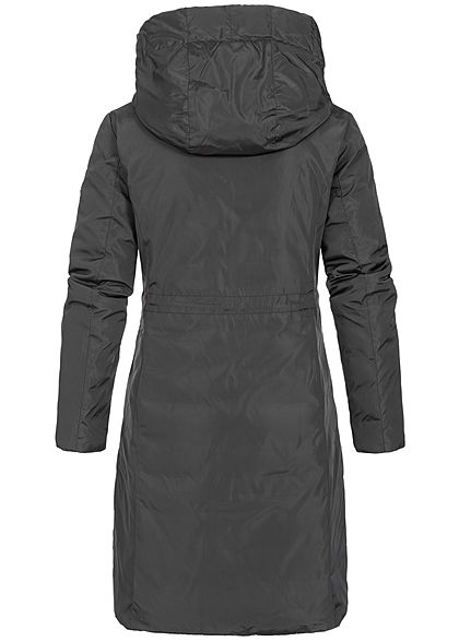 Zabaione Damen Winter Wendemantel Kapuze 2-Pockets schwarz