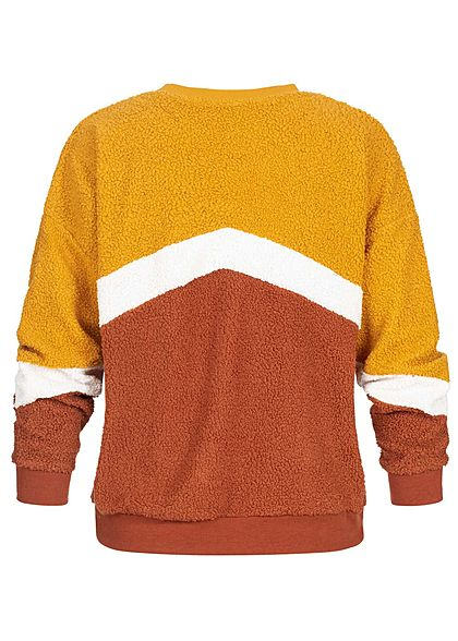 Hailys Damen Colorblock Sweater Teddyfell curry gelb