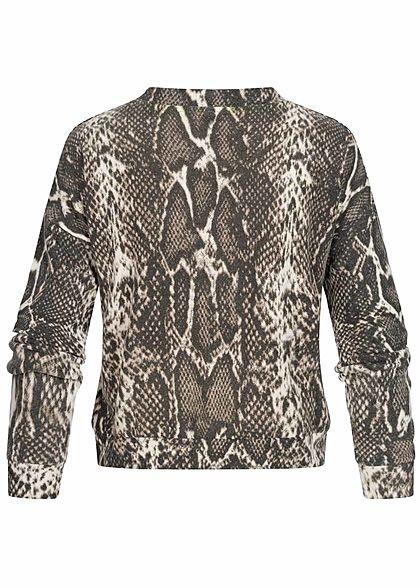 Hailys Damen Soft Touch Pullover Snake Print beige braun
