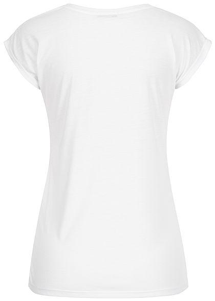 Hailys Damen T-Shirt Believe Pailletten weiss schwarz gold