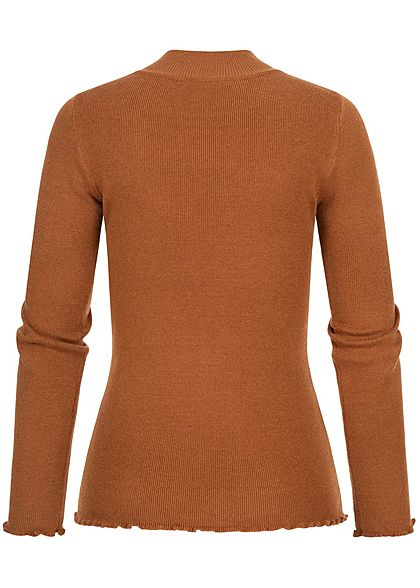Hailys Damen High-Neck Sweater Pullover caramel dunkel braun
