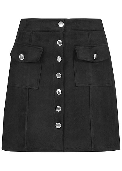 Hailys Damen Kunstleder Mini Rock 2-Pockets schwarz