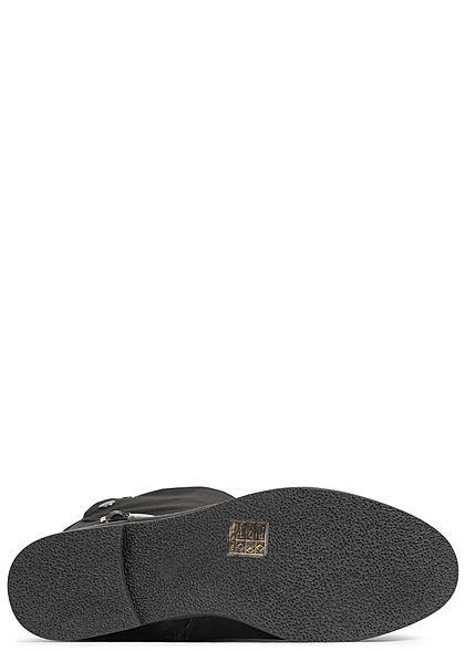 Seventyseven Lifestyle Damen Stiefel Kunstleder Zipper seitlich schwarz