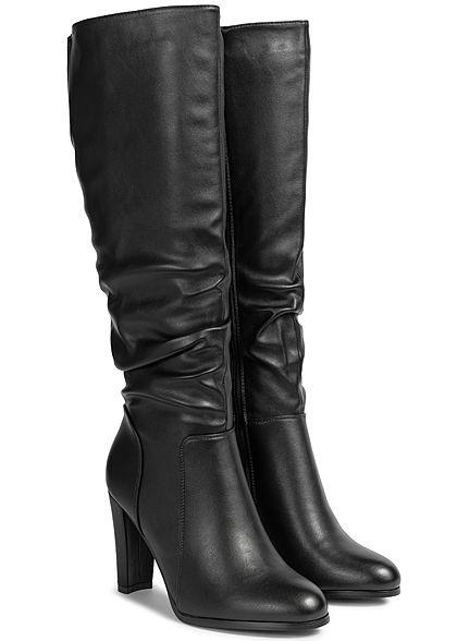 Seventyseven Lifestyle Damen Stiefel Absatz 9cm Kunstleder Zipper seitlich schwarz
