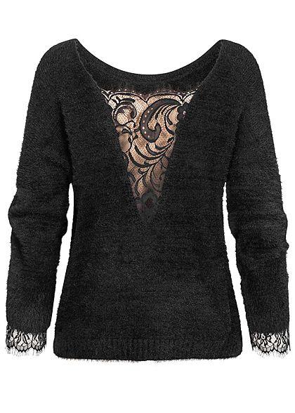 Hailys Damen Oversized Spitzen Pullover schwarz