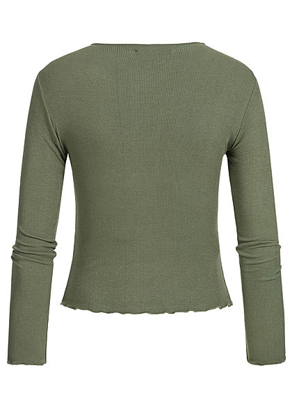 Hailys Damen Ripp Longsleeve khaki grün