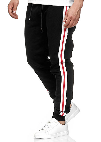 Seventyseven Lifestyle TB Herren Terry Sweatpants 2-Pockets schwarz weiss rot