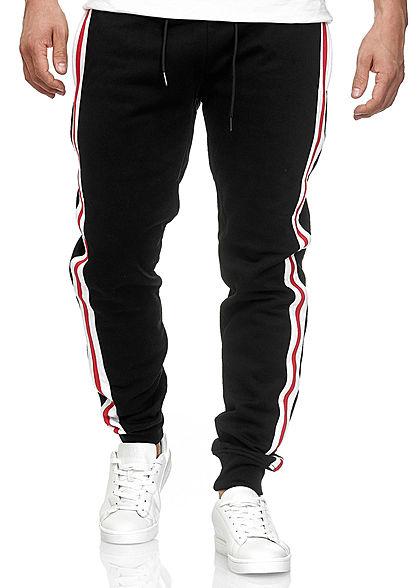 Seventyseven Lifestyle TB Herren Terry Sweatpants 2-Pockets schwarz weiss rot