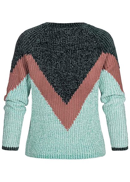 JDY by ONLY Damen Chenille Colorblock Strickpullover scarab grün