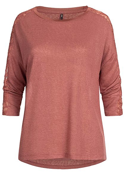 ONLY Damen 3/4 Arm Shirt Spitzen Detail seitlich apple butter bordeaux rot
