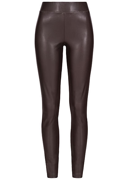 ONLY Damen Kunstleder Hose Leggings chocolate plum braun