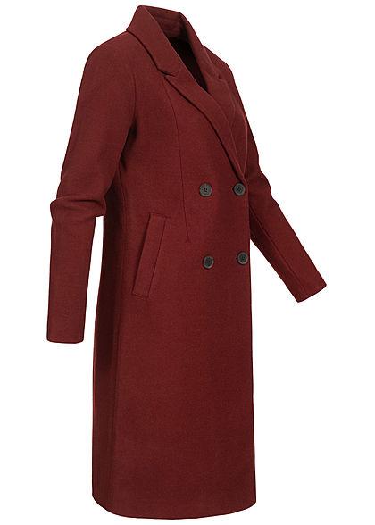 ONLY Damen Long Woll Coatigan Jacke 2-Pockets merlot bordeaux rot