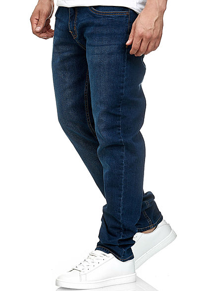 Urban Classics Herren Stretch Denim Jeans Hose 5-Pockets dunkel blau