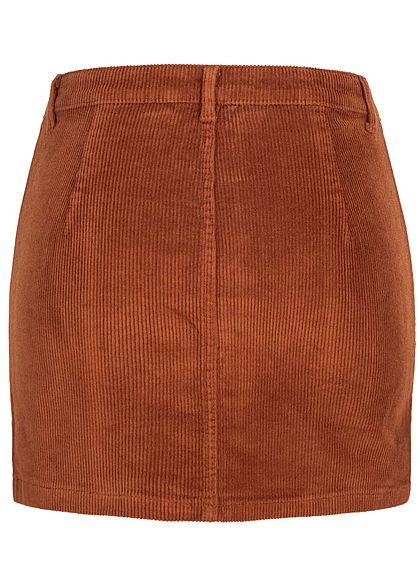 ONLY Damen Mini Cord Rock Zipper vorne ginger bread braun
