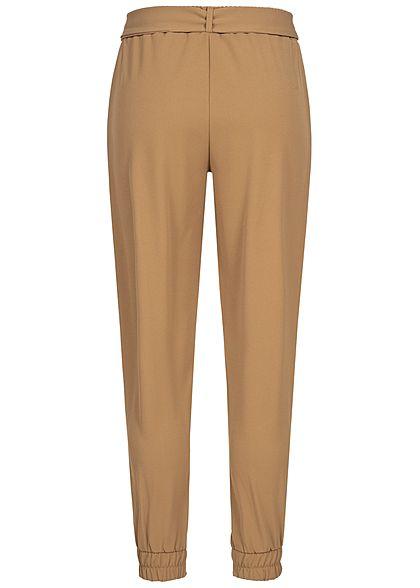 Hailys Damen Stoffhose 2-Pockets Bindegürtel beige braun