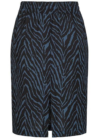JDY by ONLY Damen Midi Rock Zebra Print schwarz blau
