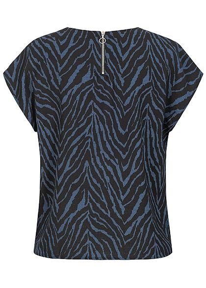 JDY by ONLY Damen Blusen Top Zipper hinten Zebra Print schwarz blau