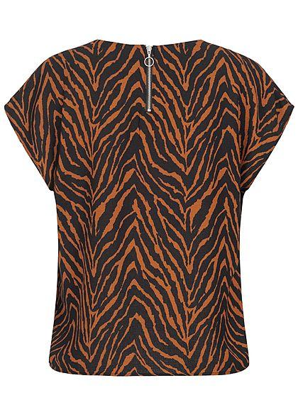 JDY by ONLY Damen Blusen Top Zipper hinten Zebra Print schwarz braun