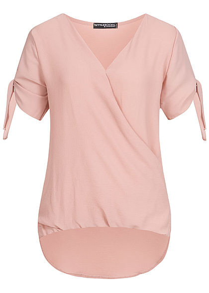 Styleboom Fashion Damen Bow Sleeve Wrap Shirt old rosa