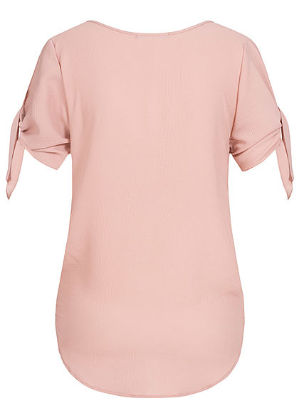 Styleboom Fashion Damen Bow Sleeve Wrap Shirt old rosa