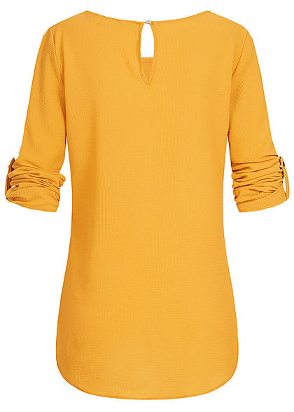 Styleboom Fashion Damen Turn-Up Blouse Shirt senf gelb