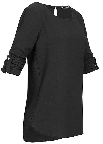 Styleboom Fashion Damen Turn-Up Blouse Shirt schwarz