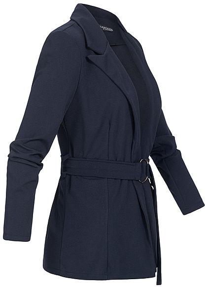 Styleboom Fashion Damen Blazer mit Bindegürtel navy blau