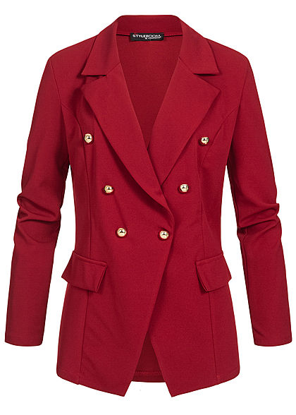Styleboom Fashion Damen Blazer Jacket Buttons Front wine rot
