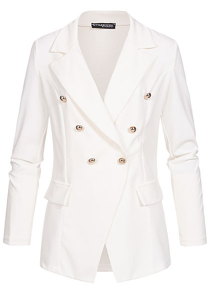 Styleboom Fashion Damen Blazer Jacket Buttons Front weiss