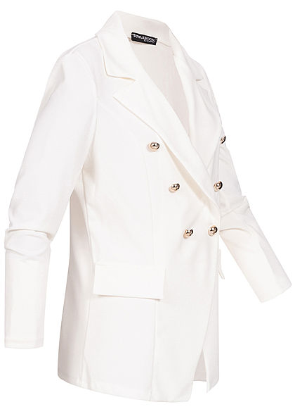 Styleboom Fashion Damen Blazer Jacket Buttons Front weiss