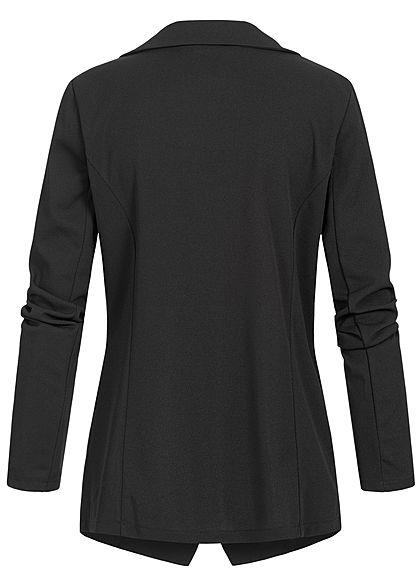 Styleboom Fashion Damen Blazer Jacket Buttons Front schwarz