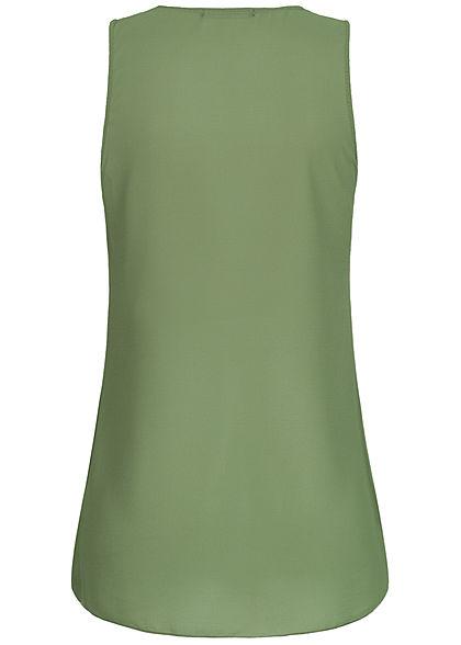 Styleboom Fashion Damen 2-Layer Chiffon Zip Top military grün