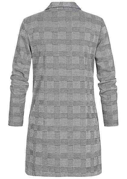 Styleboom Fashion Damen Longform Blazer grau schwarz