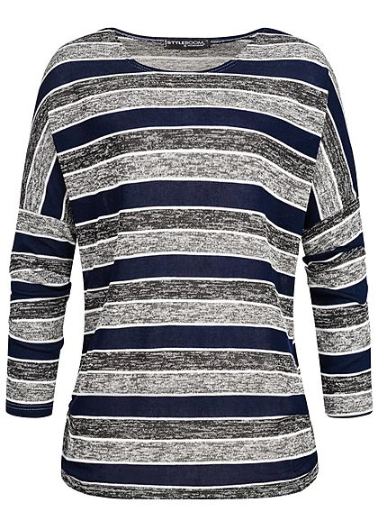 Styleboom Fashion Damen Turn-Up Longsleeve Streifen navy blau schwarz grau