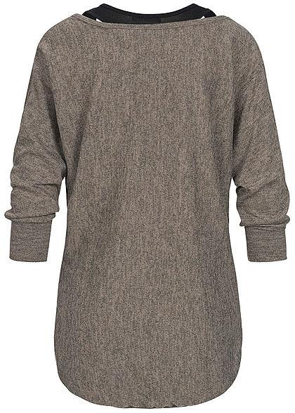 Styleboom Fashion Damen 2in1 Oversized Sweater fango braun schwarz