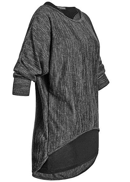 Styleboom Fashion Damen 2in1 Longsleeve Fledermaus Ärmel schwarz
