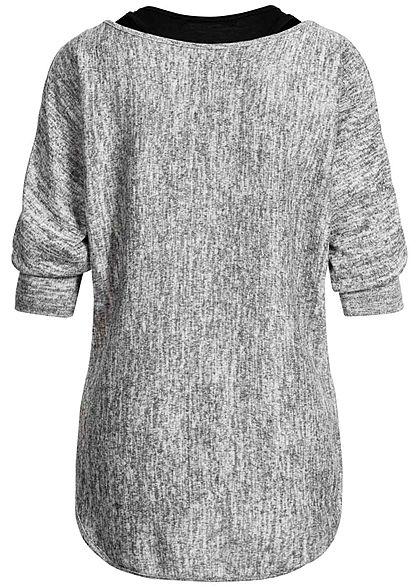 Styleboom Fashion Damen 2in1 Oversized Shirt Pullover hell grau melange schwarz