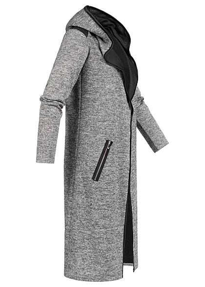 Styleboom Fashion Damen Longform Melange Cardigan medium grau