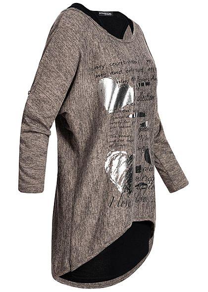 Styleboom Fashion Damen 2in1 Turn-Up Shirt Herz Print fango braun schwarz