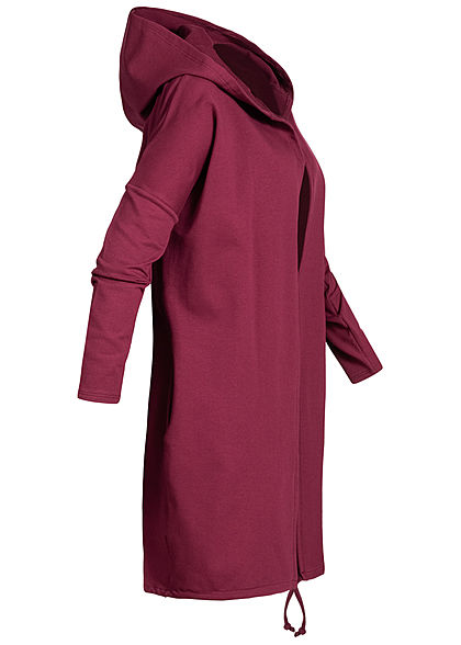 Styleboom Fashion Damen Cardigan Anker Stempeldruck Kapuze bordeaux rot
