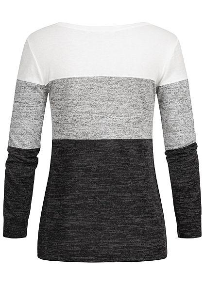 Styleboom Fashion Damen Colorblock Longsleeve weiss grau