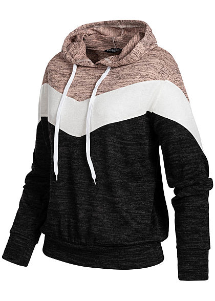 Styleboom Fashion Damen Colorblock Hoodie Arrow Muster schwarz weiss rosa melange