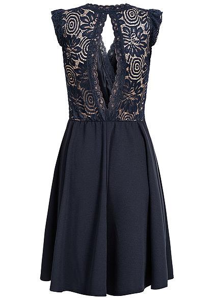 Styleboom Fashion Damen Mini Kleid Spitzen Details Brustpads navy blau