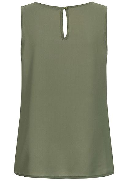 Styleboom Fashion Damen Chiffon Top Deko Perlen Strasssteine military grün