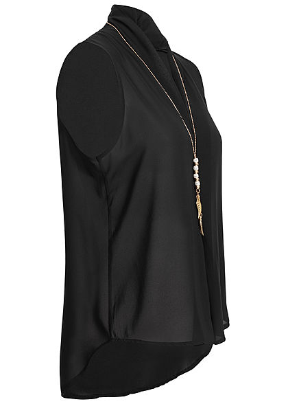 Styleboom Fashion Damen Chiffon Top Vokuhila inkl. Kette schwarz