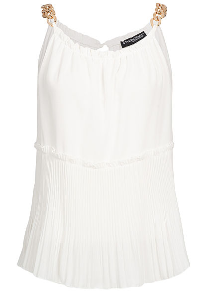 Styleboom Fashion Damen Plissee Chiffon Top 2-lagig weiss