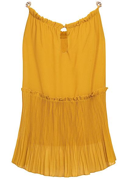 Styleboom Fashion Damen Plissee Chiffon Top 2-lagig senf gelb